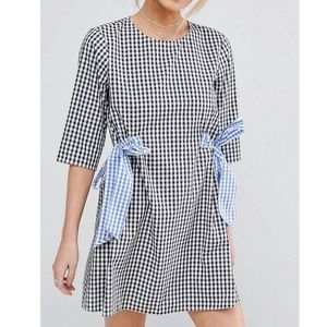 ASOS Gingham shift dress with bows